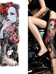 cheap -3 pcs Full Arm Temporary Tattoo Sleeve Waterproof Tattoos For Cool Men Women Tattoos Stickers On The Body Art