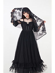 cheap -Pure Vintage Gothic Lolita Dress Party Costume Costume Party Dress Female Organza Japanese Cosplay Costumes Black Solid Colored Vintage Lace Puff / Balloon Sleeve Short Sleeve Long Length