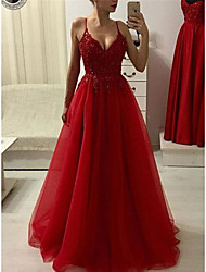 cheap -A-Line Spaghetti Strap Floor Length Tulle Elegant Formal Evening Dress 2020 with Beading / Appliques