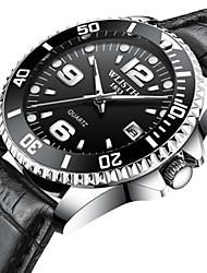 Недорогие -Муж. Нарядные часы Кварцевый Стильные Кожа Черный / Коричневый Защита от влаги Календарь Новый дизайн Аналоговый На каждый день - Черный Коричневый