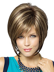 cheap -Human Hair Capless Wigs Human Hair Natural Straight Bob / Short Hairstyles 2019 Fashionable Design / New Design / Natural Hairline Brown Short Capless Wig Women's