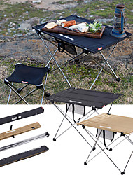 cheap -Camping Table with Side Pocket Portable Ultra Light (UL) Foldable Stability Oxford Cloth Aluminium alloy for 3 - 4 person Hiking Camping BBQ Autumn / Fall Spring Black Khaki