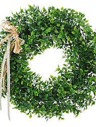 cheap -Artificial Leaf Wreath with Bow Door Hanging Wall Window Decoration Wreath Holiday Festival Wedding Decor, Style B