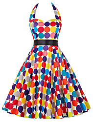 cheap -Audrey Hepburn Country Girl Polka Dots Retro Vintage 1950s Rockabilly Dress Masquerade Women's Costume Rainbow Vintage Cosplay School Office Festival Sleeveless Medium Length A-Line
