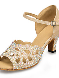 cheap -Women's Dance Shoes Synthetics Latin Shoes Rhinestone / Crystal / Rhinestone / Sided Hollow Out Heel Cuban Heel Customizable Gold / Leather