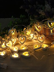 cheap -2m 20 LED String Lights Wooden Heart Shape Lamp for Festival Party Wedding Home Decoration Warm White Creative