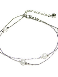 cheap -Ankle Bracelet Boho Women's Body Jewelry For Gift Holiday Black Pearl Alloy White 1pc