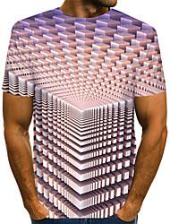 abordables -Tee-shirt Taille EU / US Homme, Bloc de Couleur / 3D / Graphique Imprimé Soirée Chic de Rue / Exagéré Col Arrondi Gris Clair / Manches Courtes
