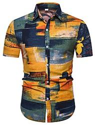 cheap -Men's Tribal Print Slim Shirt - Linen Vintage Daily Orange / Short Sleeve