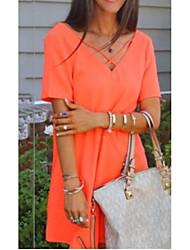 abordables -Femme Mi-long Tee Shirt Robe Couleur Pleine Col en V Orange S XL XXL Manches Courtes