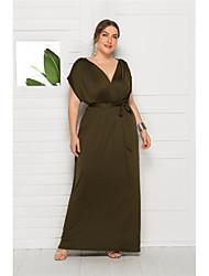 cheap -Women's Swing Dress White Black Purple Wine Green Royal Blue Navy Blue Sleeveless Solid Colored V Neck Elegant M L XL XXL 3XL 4XL