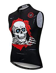 cheap -21Grams Skull Men's Sleeveless Cycling Jersey - Black Bike Jersey Top Breathable Moisture Wicking Quick Dry Sports Polyester Elastane Terylene Mountain Bike MTB Road Bike Cycling Clothing Apparel
