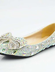 cheap -Women's Flats Comfort Loafers Flat Heel Rhinestone / Bowknot / Beading Synthetics Sweet / Minimalism Spring &  Fall / Summer Silver
