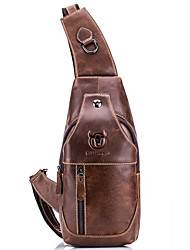 cheap -Men's Bags Cowhide Sling Shoulder Bag Chest Bag Zipper Solid Color Daily Outdoor Black Grey Black Yellow Brown