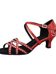 cheap -Women's Latin Shoes Heel Crystal / Rhinestone Cuban Heel Light Red Ankle Strap Glitter Crystal Sequined Jeweled / Performance / Leather