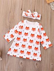 cheap -Baby Girls' Active / Basic Print Ruffle / Print Long Sleeve Above Knee Dress Beige