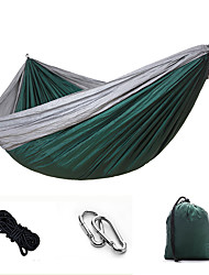 cheap -Camping Hammock Outdoor Portable Breathable Ultra Light (UL) Parachute Nylon with Carabiners and Tree Straps for 2 person Hunting Fishing Hiking Fruit Green + Dark Green Sky Blue Red + Black 270*140