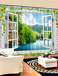 cheap -3D Digital Printing Custom Scenery Privacy Two Panels Polyester Curtain For Dining Room Living Room Decorative Waterproof Dust-proof High-quality  Curtains