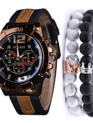 cheap -Men's Sport Watch Quartz Leather Black / Red / Brown No Chronograph Cute Creative Analog New Arrival Fashion - Brown Red Black / White One Year Battery Life