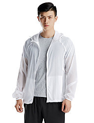 cheap -Men's Cycling Jacket Bike Windbreaker Top Windproof Breathable Moisture Wicking Sports Solid Color Polyester White / Blue / Grey Mountain Bike MTB Clothing Apparel Regular Fit Bike Wear / Quick Dry