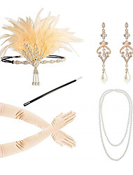 cheap -Headbands Earrings Pearl Necklace Outfits 1920s Alloy For The Great Gatsby Cosplay Women's Costume Jewelry Fashion Jewelry / Gloves / Cigarette Stick / Gloves / Cigarette Stick