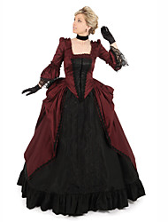 cheap -Duchess Victorian Ball Gown 1910s Edwardian Dress Party Costume Women's Cotton Costume Black / Red Vintage Cosplay Masquerade Floor Length Long Length Ball Gown Plus Size