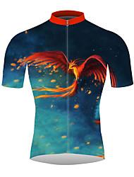 Недорогие -21Grams 3D Феникс Муж. С короткими рукавами Велокофты - Красный + синий Велоспорт Джерси Верхняя часть Дышащий Быстровысыхающий Влагоотводящие Виды спорта 100% полиэстер / Слабоэластичная / троеборье