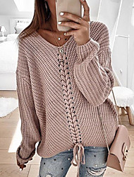 cheap -Women's Casual Knitted Solid Colored Long Sleeve Pullover Sweater Jumper, V Neck Spring / Fall Red / Blushing Pink / Navy Blue S / M / L