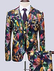 cheap -Men's Suits, Floral Notch Lapel Rayon / Polyester Rainbow