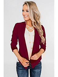 cheap -Women's Daily / Going out Regular Vest, Solid Colored Shirt Collar Long Sleeve Polyester Black / Red / Blushing Pink