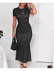 cheap -Women's Daily Going out Elegant Maxi Slim Sheath Trumpet / Mermaid Dress - Polka Dot Print Light Brown Blushing Pink Green S M L XL