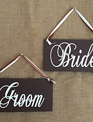 cheap -Creative Wooden Groom & Bride Wedding Chair Banner Set Chair Sign Vintage Wedding Party Decoration Shooting Props