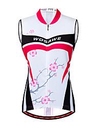 abordables -WOSAWE Femme Sans Manches Maillot Velo Cyclisme Gilet Velo Cyclisme Fuchsia Floral Botanique Cyclisme Gilet / Sans Manche Maillot VTT Vélo tout terrain Vélo Route Respirable Evacuation de l'humidit