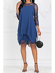 cheap -Women's Plus Size Going out Slim Sheath Chiffon Dress - Solid Colored Lace Spring Wine Navy Blue S M L XL