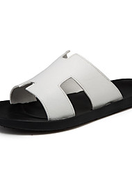 cheap -Men's Comfort Shoes PU Summer Casual Slippers & Flip-Flops Non-slipping Black / Brown / White