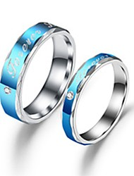 cheap -Couple's Couple Rings Ring 1pc Blue Stainless Steel Titanium Steel Circular Basic Fashion Gift Daily Jewelry Letter Cool