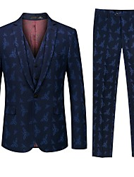 cheap -Tuxedos Standard Fit Notch Single Breasted One-button Polyester / Cotton Blend / Polyster Floral / Botanical