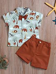 cheap -Baby Boys' Active / Basic Tropical Leaf / Tiger / Lion Solid Colored / Print Bow / Print Short Sleeve Regular Regular Clothing Set Khaki