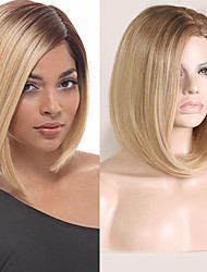 cheap -Synthetic Wig Natural Straight Bob Wig Blonde Short Black / Strawberry Blonde Synthetic Hair 8 inch Women's Party Women Blonde