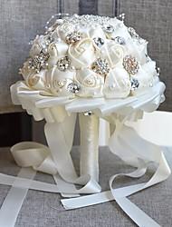 Недорогие -Свадебные цветы Букеты Свадьба / Свадебные прием Шёлковая ткань рипсового переплетения / стекло / Алюминиево-магниевый сплав 11-20 cm