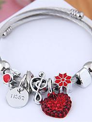 cheap -Women's Charm Bracelet Bracelet Bangles Bracelet Beads Heart European Sweet Fashion Cute Elegant Rhinestone Bracelet Jewelry Black / Red / Pink For Wedding Party Gift Daily Prom