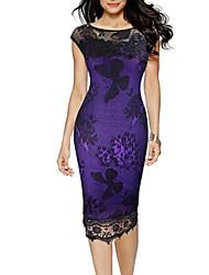 cheap -Women's Basic Sheath Dress - Solid Colored Mesh Black Red Purple XXXL XXXXL XXXXXL