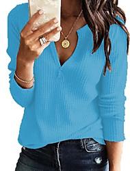 abordables -Femme Simple / Basique Tricot Couleur Pleine Manches Longues Pullover Pull pull, Col en V Printemps / Automne Noir / Blanche / Rose Claire S / M / L