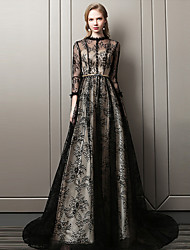 cheap -A-Line Scalloped Neckline Court Train Lace Sparkle & Shine / Elegant Formal Evening Dress with Buttons / Sash / Ribbon 2020