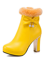 cheap -Women's Boots Chunky Heel Round Toe Rhinestone / Bowknot PU(Polyurethane) Booties / Ankle Boots Casual / British Fall & Winter Black / White / Yellow / Party & Evening