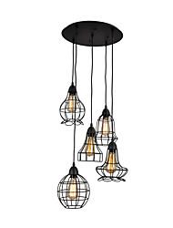 cheap -5-Light Ceiling Light Flush Mount Round Oil Rubbed Black Finish Pendant Light Cage Cluster Pendant Lamp 5 Lights Chandeliers Pendant Light Fixtures for Bar