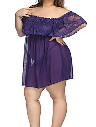 cheap -Women's Lace / Mesh Plus Size Sexy Babydoll & Slips Nightwear Solid Colored Black Purple Red S M L