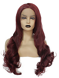 cheap -Synthetic Lace Front Wig Body Wave Kardashian Middle Part Lace Front Wig Burgundy Long Dark Wine Synthetic Hair 22-26 inch Women's Heat Resistant Women Hot Sale Burgundy / Glueless