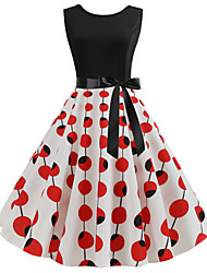 cheap -Women's Wine Yellow Dress Vintage Street chic A Line Sheath Swing Polka Dot Floral Patchwork Print S M / Cotton