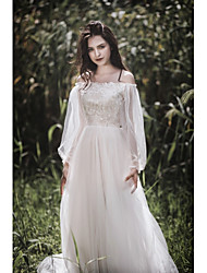 cheap -A-Line Off Shoulder Sweep / Brush Train Lace / Tulle / Charmeuse Long Sleeve Sexy Made-To-Measure Wedding Dresses with Appliques / Embroidery 2020